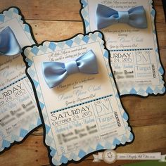 Little Man Bow Tie Baby Shower / 1st Birthday custom handmade bowtie invitation