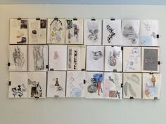The pages of a sketchbook seen all at once. Very simple and minimal layout but with excellent drawings and colour work.