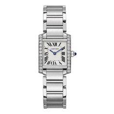 Cartier Tank Française small steel watch with diamonds (=)