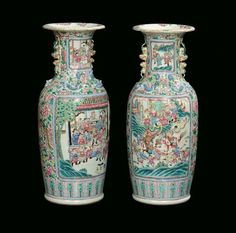 Pair of Famille Rose porcelain vases, China, Qing Dynasty, 19th century.