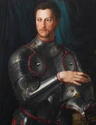 "This handsome image is called ""Cosimi I de' Medici in Armour"". It is portrayed to show the dominant and proud face of this ruler.   Artist: Bronzino Date of Completion: 1545 Dimensions: 74 cm × 58 cm Location: Uffizi, Florence Period: Renaissance"