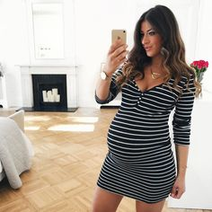 Mimi Ikonn Pregnant, Mimi Ikonn Maternity Style, Striped Dress, 40 Weeks, Baby Bump, London.