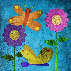 Butterflies on Blue Canvas Art