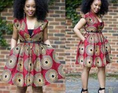 Nuju African short dress, knee length, african clothing, african dress, the… Short African Dresses, Latest African Fashion Dresses, African Print Dresses, African Prints, Ankara Fashion, African Inspired Fashion, African Print Fashion, Africa Fashion, African Attire