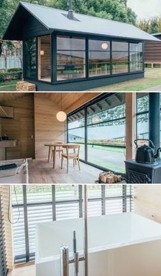 """Prefab, minimalist housing by the MUJI brand. The Muji Hut of Wood by designer Naoto Fukasawa. This one comes with a Japanese style bath, a wood-burning stove, and a wall of windows. Love! I wish I could have this as my """"she"""" shed/personal office off of the house, especially if the windows faced trees/nature. It could function as a part-time guest (mini) house."""