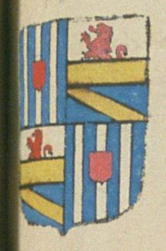 Joseph DE GARNIER, seigneur de Pierrevert. Porte : écartelé ; au 1er et 4e : d'azur, à trois pals d'argent ; à un écusson de gueules, en cœur, brochant sur le pal du milieu, au 2e et 3e : coupé d'argent et d'azur, par une face d'or ; l'argent, chargé d'un lion naissant de gueules, et l'azur, d'une bande d'or   N° 52