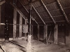 Interior of a wharenui (Maori meeting house) with carved and painted elements. New Zealand, Arch, Carving, Culture, History, Interior, House, Teaching, Maori