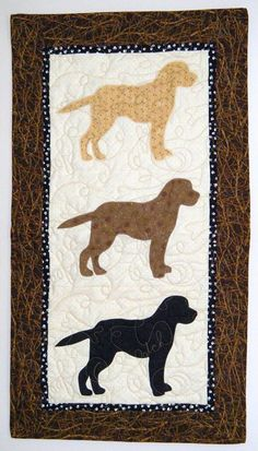 Triple Labs  Quilted Mini Dog Wall Hanging 17 x by doodlebugquilts, $48.00