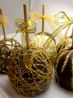 Ornate Candy Apples with Gold Sugar Glitter- White, Gold and Chocolate Swirls and Shimmers