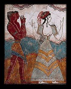 Minoan Cretan Princess Entourage Fresco from Palace of Knossos