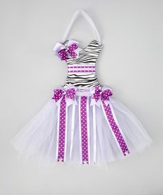 Take a look at this Lavender Zebra Tutu Bow Holder by Hair Bows Unlimited on #zulily today!