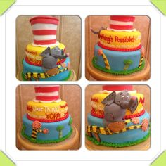 Dr. Seuss/ Horton/ Cat in the Hat cake for a Seussical cast party. www.facebook.com/cakeitorleaveitcakesbymarianne