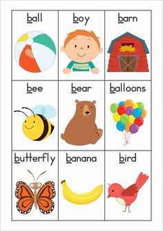FREE Phonics Letter of the Week B. Vocabulary or word wall cards.                                                                                                                                                                                 More
