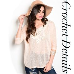 TALISMAN peach and ivory crochet top TALISMAN peach and ivory crochet top. This skin knit relaxed fit top features 3/4 dolman sleeves and a crochet appliqué on the yoke. No trades. Price firm unless bundled. Material: 65% Polyester, 35% rayon. Available in sizes S, M & L. Measurements available upon request. Please comment what size you need and I can make you a listing! Thank you for visiting my closet! Size small pictured above. Boutique Tops