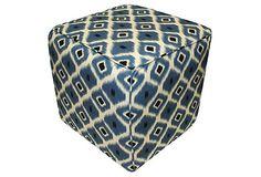 Amelia Geometric Ikat Pouf, Blue on OneKingsLane.com