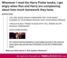 You are doing magic homework for your magic classes at your magic school with your magic friends.  I would wake up at six in the morning and be like I'M GOING TO DO MY HOMEWORK NOW! When you think about it, this explains Hermione. <==Ha!