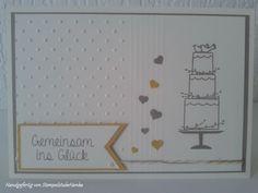 Hochzeitskarte - taupe, gelb und Hochzeitstorte