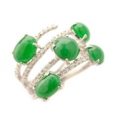Jade, Diamond, 18k White Gold Ring #michaans #jewelry http://www.michaans.com/highlights/2016/highlights_02132016.php