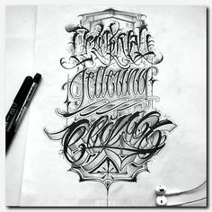 Ideas For Tattoo Fonts For Men Writing Chicano Lettering, Tattoo Lettering Fonts, Hand Lettering Alphabet, Tattoo Script, Graffiti Lettering, Lettering Styles, Text Tattoo, Celtic Tattoo Meaning, Tattoos With Meaning