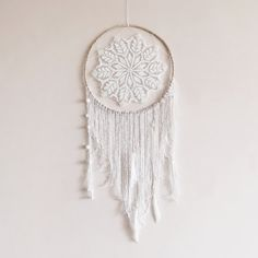 White dream catcher boho dreamcatcher large crochet by wincsike