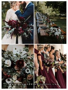 Burgundy or marsala is without doubt the most popular wedding color for the coming autumn and winter seasons. Green And Burgundy Wedding, Dark Red Wedding, Wine Colored Wedding, Popular Wedding Colors, Fall Wedding Colors, Wedding Color Schemes, Unique Wedding Themes, Blush Fall Wedding, Grey Wedding Theme