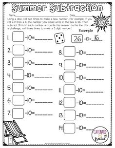Summer Subtraction is a fun way for students to get extra practice subtracting 10. Using a dice, students will roll twice and create a two digit number to subtract ten from. Part of a Summer Literacy and Math No Prep Bundle for Second Grade. This unit covers summer, camping, vacations, pool time fun, Fourth of July and more!