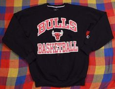 Vintage Bulls Starter Sweatshirt Sz M Black Crewneck Pullover Chicago USA Made #Starter #Sweatshirt