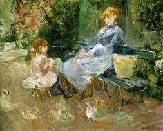 """""""Das Märchen"""" (1883) von Berthe Marie Pauline Morisot (geboren am 14. Januar 1841 in Bourges, gestorben am 2. März 1895 in Paris), französische Malerin des Impressionismus."""