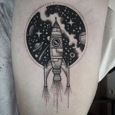 ... ship more black tattoo tattoo rocket outer space tattoo outer space