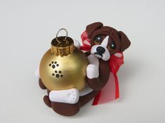 Boxer dog Christmas Ornament Figurine Polymer by HeartOfClayGirl, $16.95