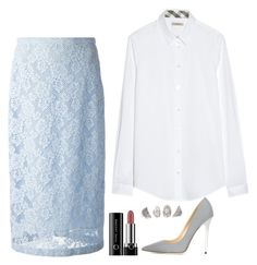 """""""Rachel Zane Inspired Outfit"""" by daniellakresovic ❤ liked on Polyvore featuring Burberry, Marc and Jimmy Choo"""