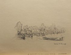 """View of a Canal with a Boat in the right Foreground"", after Rembrandt, pencil on brown toned weave business paper, 2011. Copied from a  Rembrandt sketch book for practice."