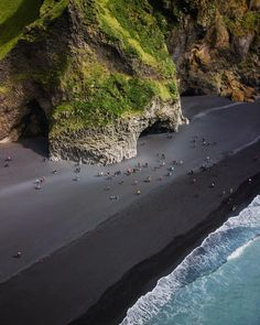 Aerial View Over the Black Sand Beach at Reynisfjara, South Iceland 😎🤙🚁💨 Courtesy of Iceland Beach, Iceland Travel, Places To Travel, Places To Go, Iceland Adventures, Holiday Resort, Foto Art, Beautiful Places To Visit, Places Around The World