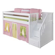 Everything imaginable for your child's room! Kids furniture is our business and we have an unrivaled collection. Find high-quality furniture, art, bedding, decor and rugs at Rosenberry Rooms! Bunk Beds With Stairs, Kids Bunk Beds, Low Loft Beds For Kids, Loft Beds For Small Rooms, Toddler Bed With Storage, Bed Stairs, Loft Staircase, Girl Room, Girls Bedroom