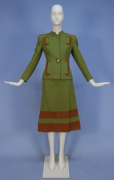 Green and brown wool suit, 1940s. Also has matching all-brown wool skirt.