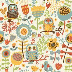 Цветочные бесшовный паттерн с сова и птица — Стоковая иллюстрация #24183675