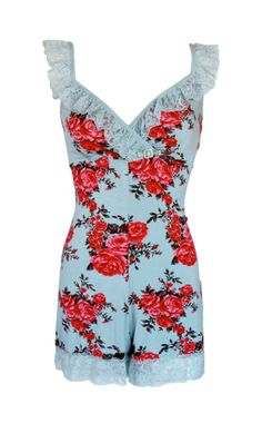 Jools Couture - [Best seller] AVIGNON ROSE PLAYSUIT Perfectly cool and romantic in summer. Exotic print with luxurious powder blue lace plus diamante brooch. You'll look like a million dollar baby.    www.joolscouture.com