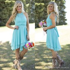 2016 Hot Sale Country Style Turquoise Bridesmaid Dresses Crew Neck Ruffled Chiffon Mini Dress Beach Wedding Party Dresses