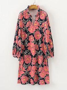 Shop Frill Neck Floral Dress online. SheIn offers Frill Neck Floral Dress & more to fit your fashionable needs.