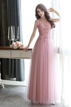 Hey visit once! You will always find the latest trends and styles, checkout this Prom Dresses Long Lace Applique Beaded Tulle Floor Length Backless Formal Party Dress at here! Pink Evening Dress, Formal Evening Dresses, Evening Gowns, A Line Prom Dresses, Homecoming Dresses, Party Dresses, Dress Prom, Ball Dresses, Long Dresses
