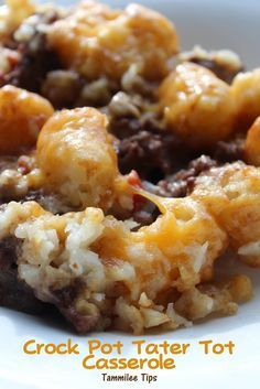Ground beef & tater tot casserole Brown 1 lb of ground beef; Mix together ground beef, 1 onion(chopped), 1 can rotel, 1 can cream of chicen in crock pot; top mixture with a layer of tater tots (16 oz bag); cook on low 2.5-3 hours; 30 min before serving, top with 2 cups of shredded cheddar cheese