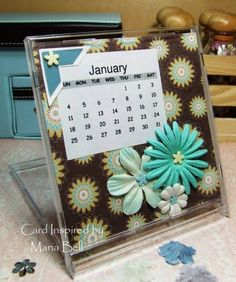 CD Case Calendar - January by CardInspired - Cards and Paper Crafts at Splitcoaststampers Put old calendar brides inside Cd Case Crafts, Cd Crafts, Frame Crafts, Diy And Crafts, Crafts For Kids, Paper Crafts, Recycled Cds, Recycled Crafts, Craft Fairs