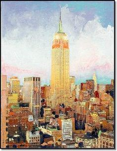Manhattan Dawn , Empire State Building New York, painting by Rd Riccoboni, acyrilic on canvas