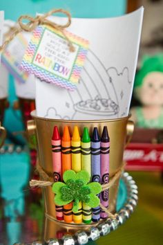 """you're the pot of gold at the end of my rainbow"" {crayons, bucket, & coloring pages for kids} ocdanceproductions.com"