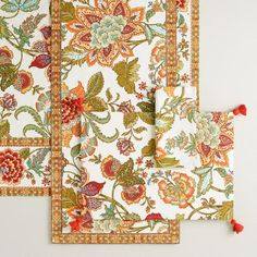 One of my favorite discoveries at WorldMarket.com: Floral Kavita Table Linen Collection
