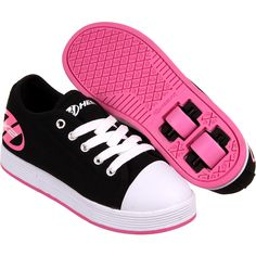 Heelys Dual Up Skate Shoes Girls Black & Pink Blue Neon Size 13 with Box Girls Sneakers, Girls Shoes, Baby Shoes, Thrasher Skate, Roller Skate Shoes, Black Pink, Complete Skateboards, Cool Technology, Futuristic Technology