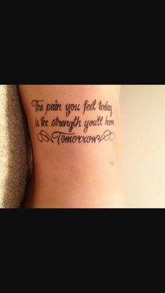 strength tattoo quotes on side with wings - The pain you feel taday is the stren. - strength tattoo quotes on side with wings – The pain you feel taday is the strength you'll have - Dope Tattoos, Wörter Tattoos, Pretty Tattoos, Unique Tattoos, Tatoos, Faith Tattoos, Celtic Tattoos, Music Tattoos, Small Tattoos