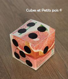 DIY Dé en brique de jus de fruits - http://www.cubesetpetitspois.fr/diy-fabriquer-un-de-en-brique-de-jus-de-fruits/