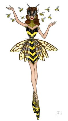 Robotic Bee Dress fashion illustration by HFSIllustration. All designs and images © HFSIllustration - Site Today Fashion Illustration Dresses, Illustration Mode, Fashion Illustration Sketches, Fashion Sketches, Croquis Poses, Star Fashion, Fashion Art, Collage Drawing, Fashion Design Drawings