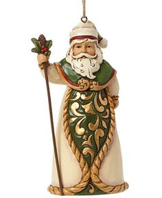 Jim Shore Ivory and Green Santa Collectible Ornament - Christmas Ornaments - For The Home - Macy's